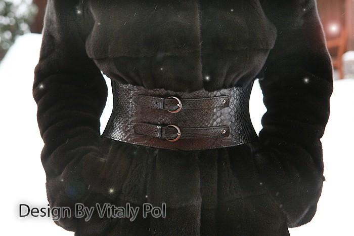 Ремень на шубу корсетный. Черный из кожи питона