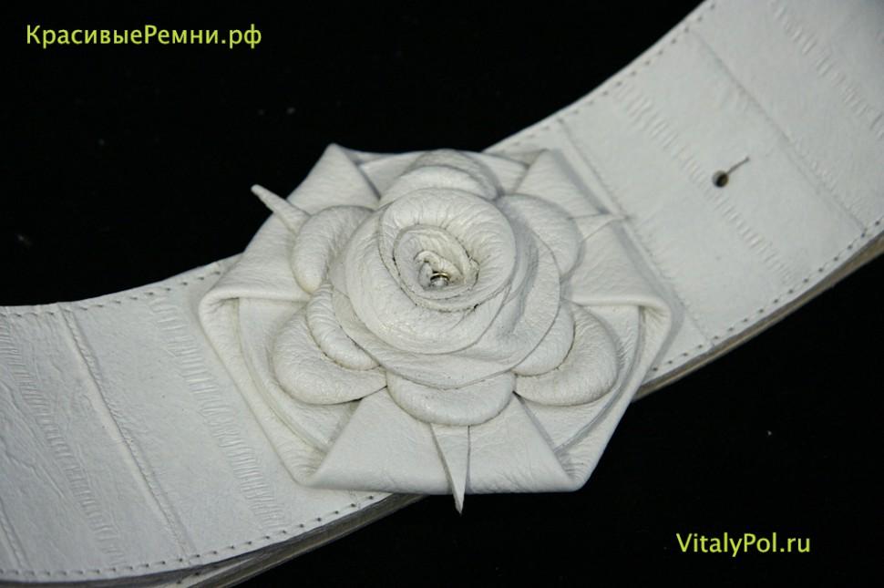 Ремень белый из кожи угря для шубы